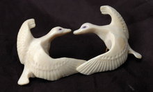 Carved Walrus Ivory Flying Snow Goose Earrings  Native Alaskan or Eskimo Art