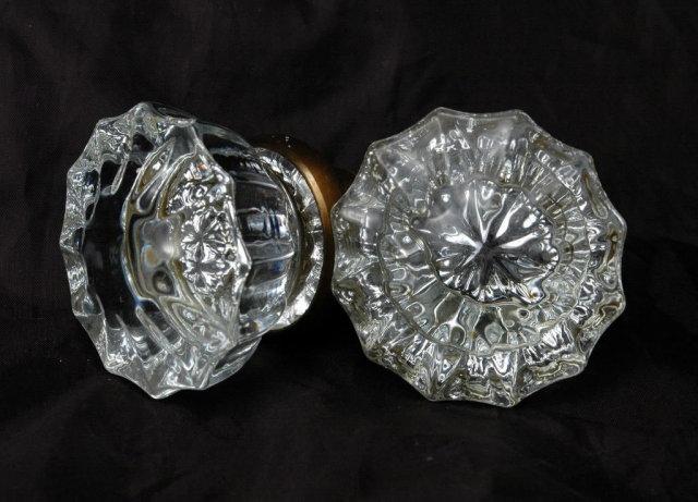 Pair of  Crystal Glass Door Knobs