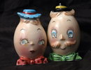 Pair of Mrs and Mr. Egg Head   Humpty Dumpty  Salt Pepper shakers