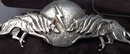 Native American Sterling Silver Wolf Moon Lightening Pin Cast & Hand Wrought