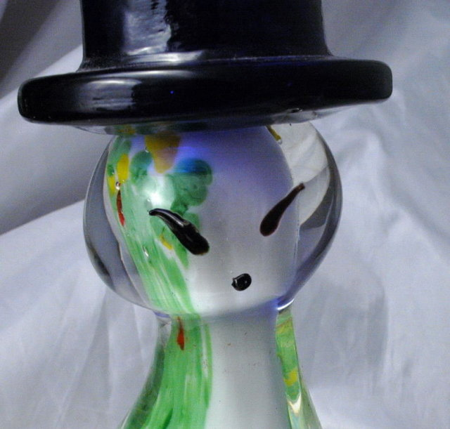 Tall Murano  Sommerso  Art Glass Cat Wearing Cobalt Blue Hat  Sculpture Paperweight
