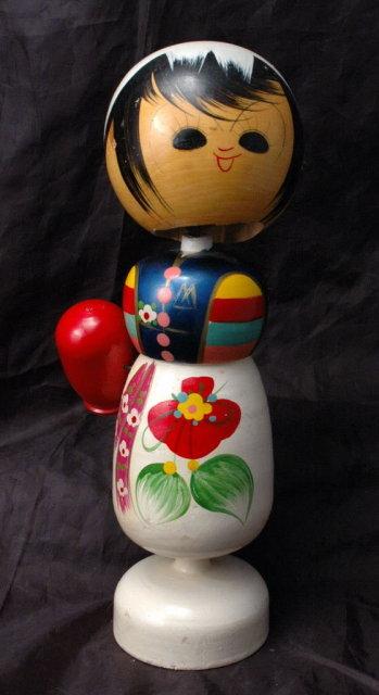 Tall  Vintage Korea Korean Wood Nodder Doll bobblehead