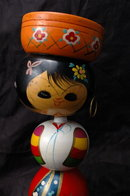Tall  Vintage Korea Korean Wood Nodder Doll bobblehead   11