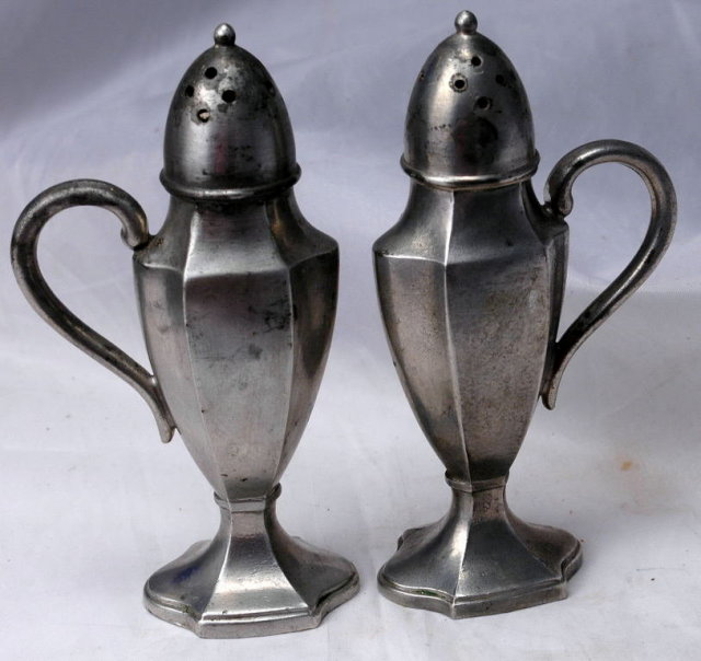 Old Pewter Salt Pepper Shakers , Footed Paneled with Handle  , numbered