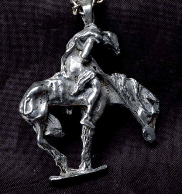 Very Large Cast Silver End of The Trail Pendant Native American  **PRICE REDUCED!**