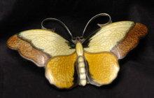 Hroar Prydz  Guilloche  Enamel  Sterling  Vermeil    Butterfly Pin Brooch