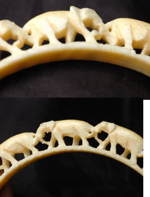 Antique  Carved Ivory   Arm Bangle Bracelet PRE-BAN