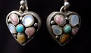 Sterling Silver & Gemstone Heart Earrings by BARSE