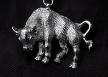 Large Sterling Bull Pendant with Chain