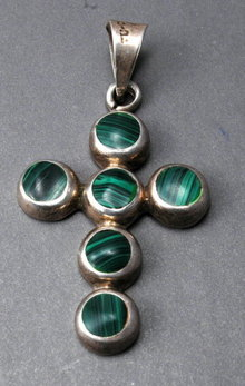 Old Mexico  Sterling with Malachite Cross, Crucifix, Over-sized