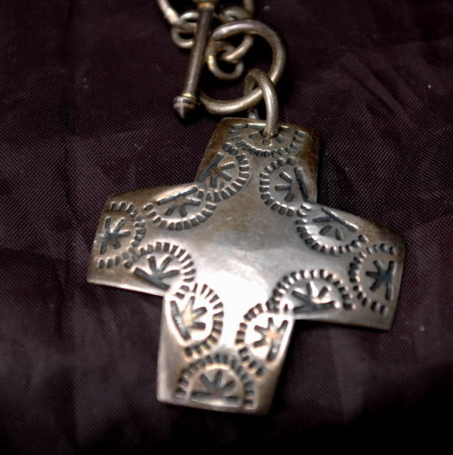 Native American Stamped Sterling Cross on Large Links Sterling Toggle Chain