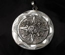 Large Sterling Silver Mexican Aztec Two Sided Calender Coin  Medallion Pendant