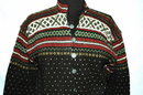 Beautiful Norwegian Hand Knit  Wool Sweater with Pewter Buttons