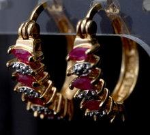 Ruby Diamond Hoop Earrings in Sterling with Gold Wash