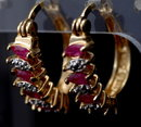 Ruby Diamond Hoop Earrings in Sterling with Gold Wash