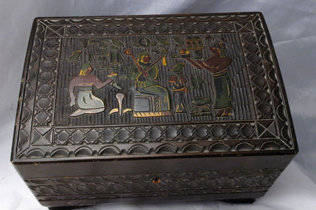 Hand Carved Wood Egyptian Jewelry Music   Box