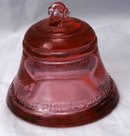 TELEPHONE PIONEERS of AMERICA GLASS BELL PAPERWEIGHT  RARE ROSE COLOR
