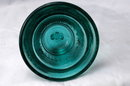 TELEPHONE PIONEERS of AMERICA GLASS BELL PAPERWEIGHT  RARE  AQUA BLUE COLOR