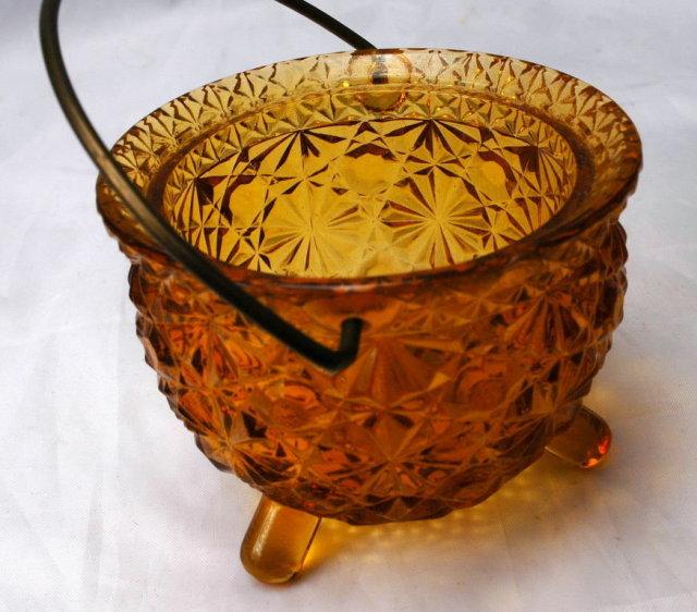 Daisy Dot Button Amber Glass Cauldron Shape Glass Holder  L. G. Wright Glass Company.