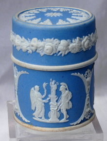 Wedgwood  Blue Jasperware Match Box Cylinder