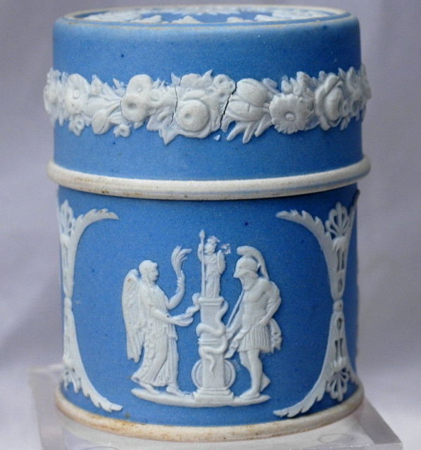 Wedgwood  Blue Jasperware Match Box Cylinder