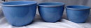 Old Blue Glaze Pottery Nesting Mixing Bowls x  3