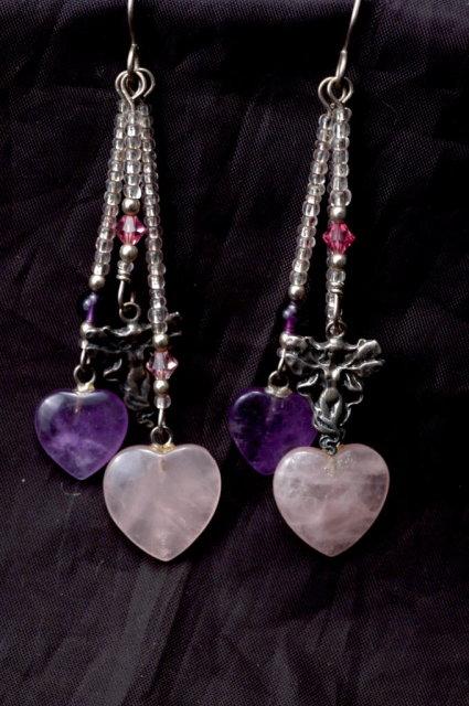 Amethyst & Rose Quartz Hearts & Sterling Fairy Earrings