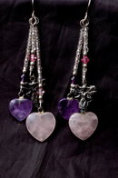 Amethyst & Rose Quartz Hearts & Sterling Fairy Earrings