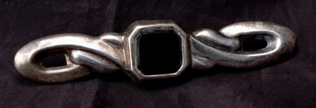 Hand Crafted Vintage Sterling  & Black Onyx Bar Pin Brooch