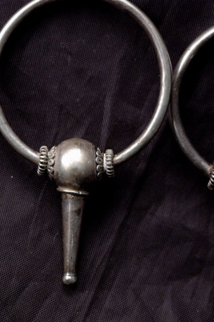 Crafted Vintage Sterling Silver  Earrings  Big Hoops on Post with Bead & Cone