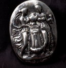 Hand Wrought Sterling Silver Goddesses in Repousse Brooch Pin Pendant