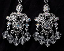 Crystal Chandelier & AB Rhinestone Silver Earrings   **PRICE REDUCED!**