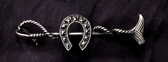 Antique Sterling Silver Horseshoe & Crop Whip Bar Pin with Marcasites