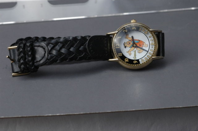 Fred Flintstone  Watch by Waltham Animated / Works great with black leather band.