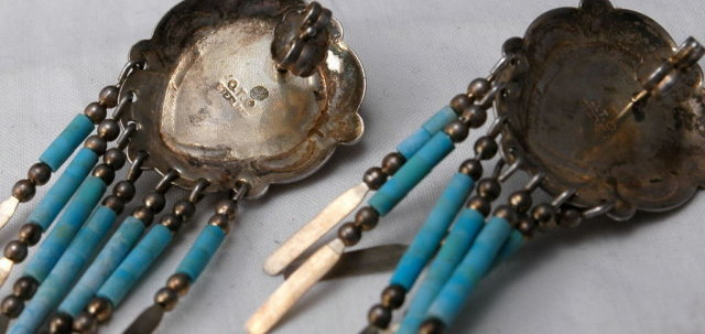NATIVE AMERICAN, ZUNI VINTAGE STERLING SILVER & TURQUOISE CONCHO DANGLE EARRINGS SIGNED Q.T.