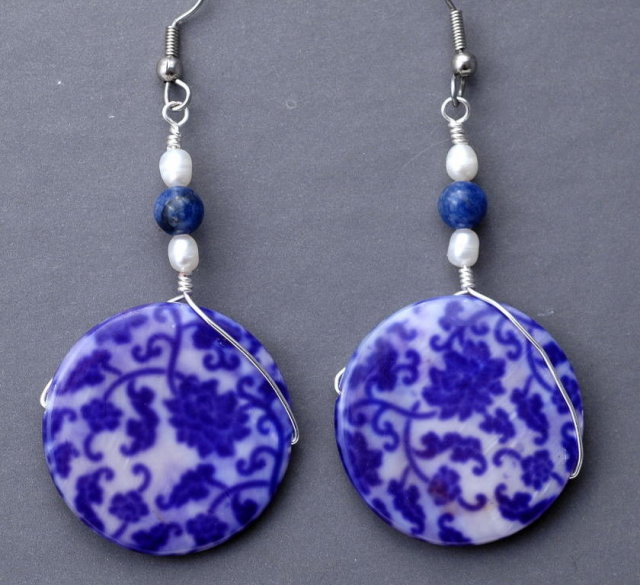Blue White Shell , Lapis & Pearl Earrings Hand Crafted Original Design  Free shipping within the USA!  **PRICE REDUCTION**!