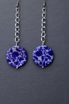 Blue White Shell Long Dangle Earrings , Hand Crafted Original Design