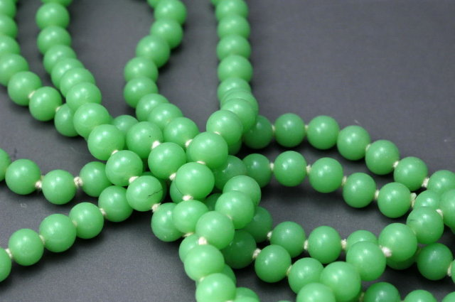 Vintage  Jadeite Glass Beaded Strand Necklace   Endless  58