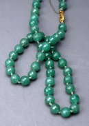 Faceted Dark Green  Aventurine Beaded Necklace Hand Knotted 19