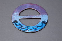 Signed Enamel on Copper Belt Buckle / Sash Buckle  Hand crafted