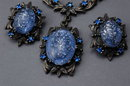 Vintage Blue  Glass Parure  with Silver Metallic  Confetti Flecks  Excellent!