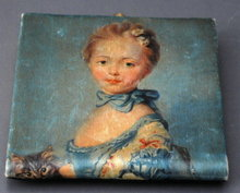 Vintage Italian Silk Wallet Coin Purse Hand Painted  Portrait on Silk