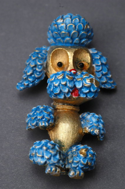 Vintage Enameled Poodle Pin Brooch  by JJ