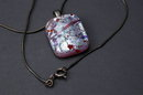 Sterling Silver & Dichroic  Art Glass Pendant   on Sterling Chain  Hand Crafted Artisan