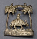 Silver Brooch, Man on Ox, Palm Trees Souvenir of the Philippines.