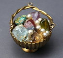 Gold Basket of Gems Large Pendant Charm