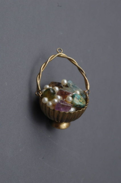 Gold Basket of Gems Large Pendant Charm