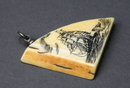 Fossilized Ivory Scrimshaw  Sailing Ship Pendant
