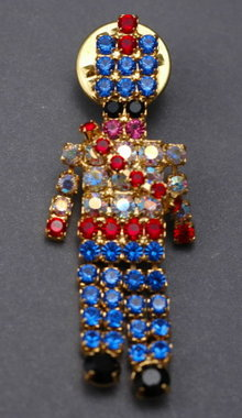 Rhinestone Colorful RED WHITE AND BLUE  Toy Soldier Nut Cracker Lapel Pin