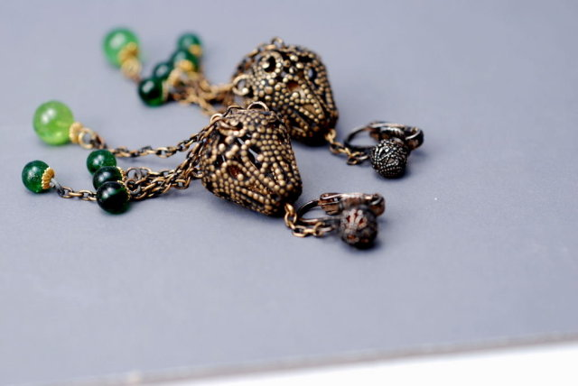 Victorian   Brass  & Green Glass Filigree Long Dangle  Chatelaine Earrings
